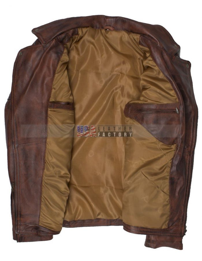 Brando Men Vintage Motorcycle Leather Jacket Hot Sale Free Shipping