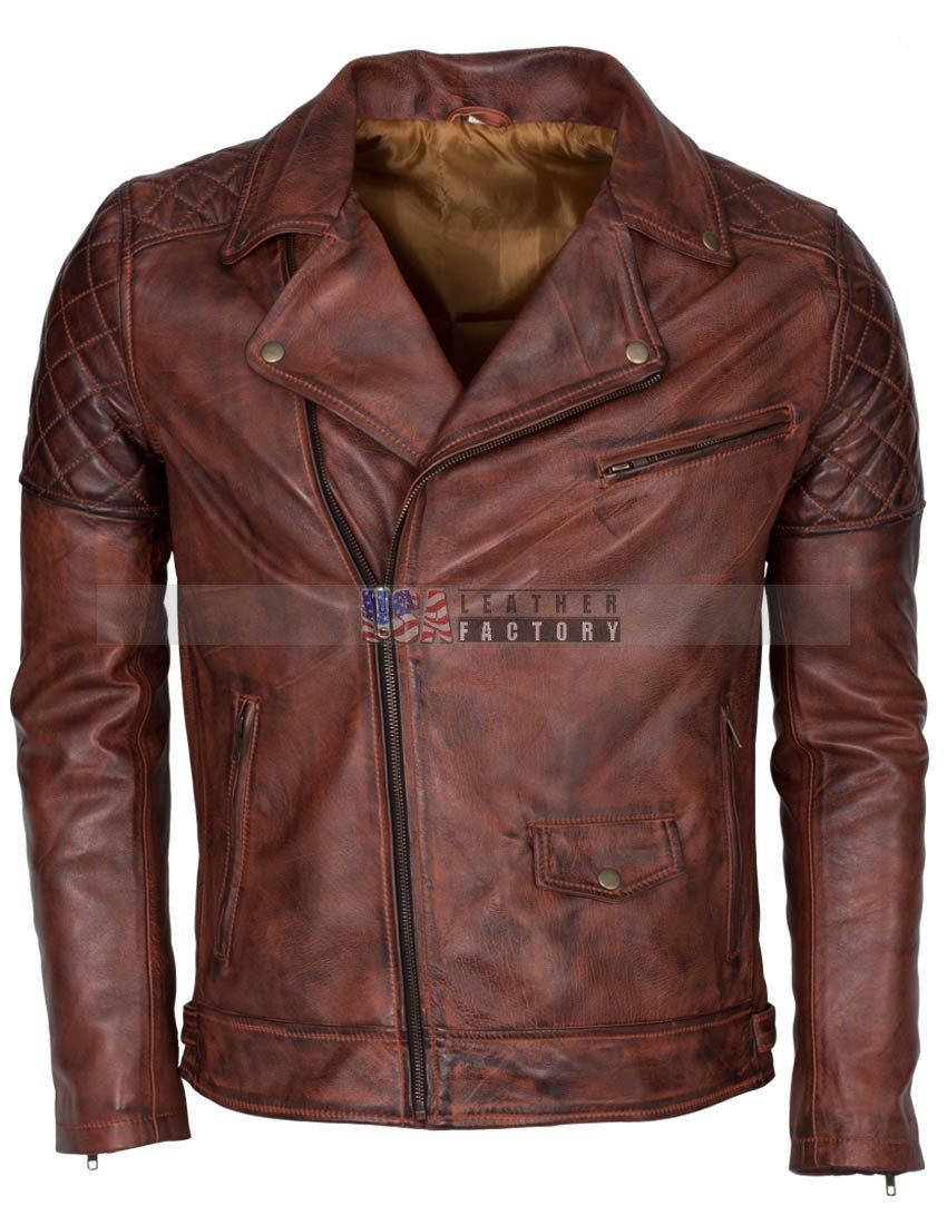 Mens leather hoodie jacket