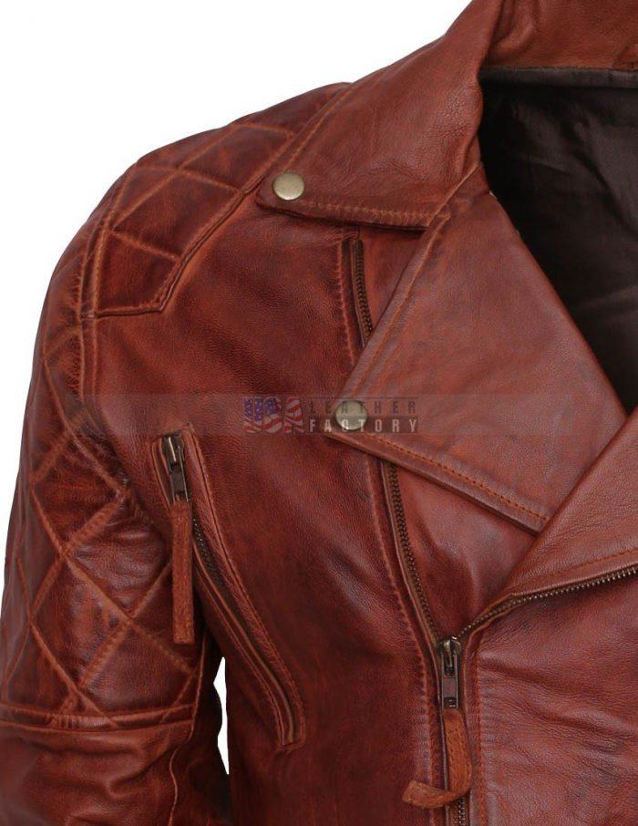 Designer Mens Brown Biker Leather Jacket Hot Sale