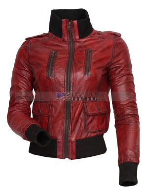 Designer Waxed Women Motorbike Leather Jacket