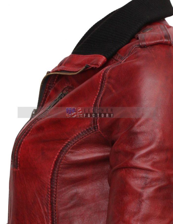 Designer Waxed Women Motorbike Leather Jacket Free Shipping worldwide