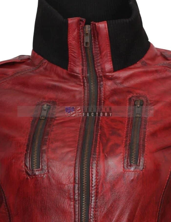 Designer Waxed Women Motorbike Leather Jacket Sale Now Buy it Now