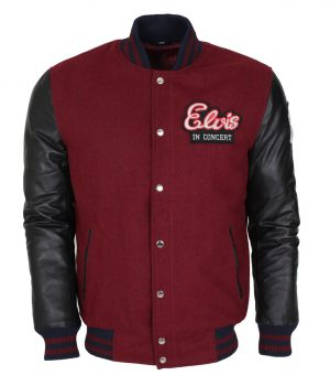 Elvis Presley In Concert Mens Wool Leather Sleeves Maroon Jacket