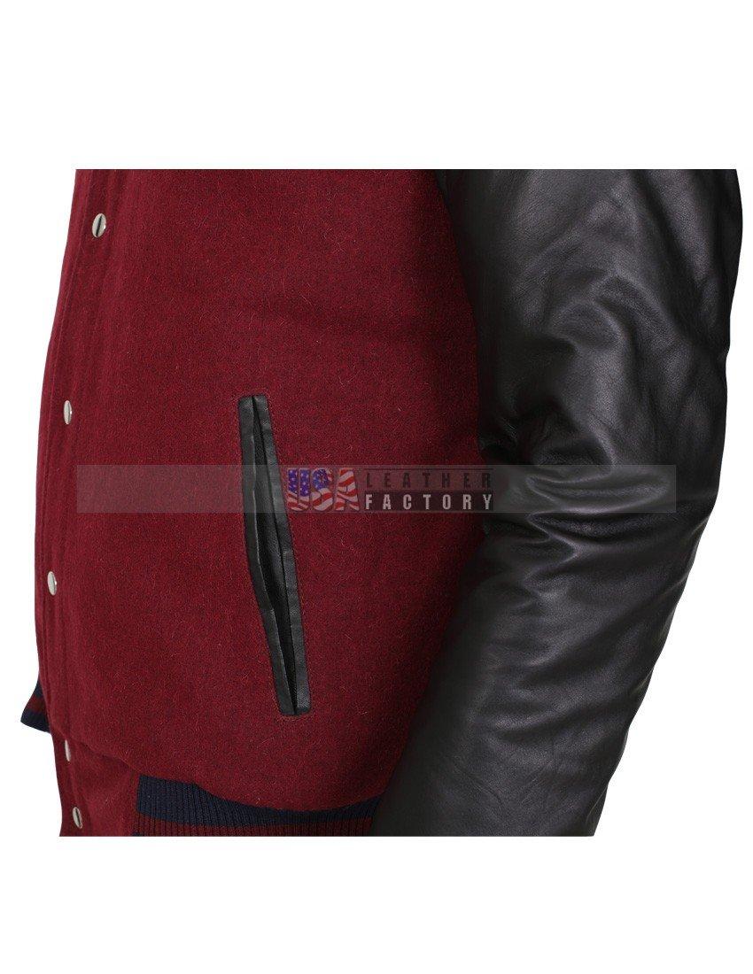 3361d8f29 Elvis Presley In Concert Mens Wool Leather Sleeves Maroon Jacket
