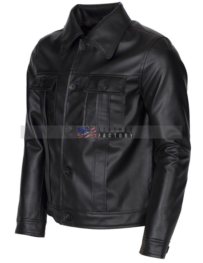Elvis Presley Inspired Mens Black Leather Jacket Vintage Look