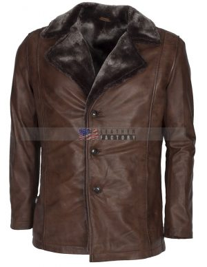 Brown Designer Leather Coat