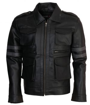 Leon Kennedy Resident Evil-6 Black Leather Jacket