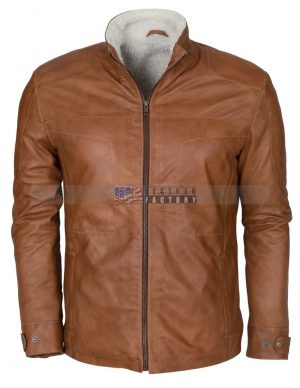 Men Brown Waxed Fur Lined Winter Leather Jacket