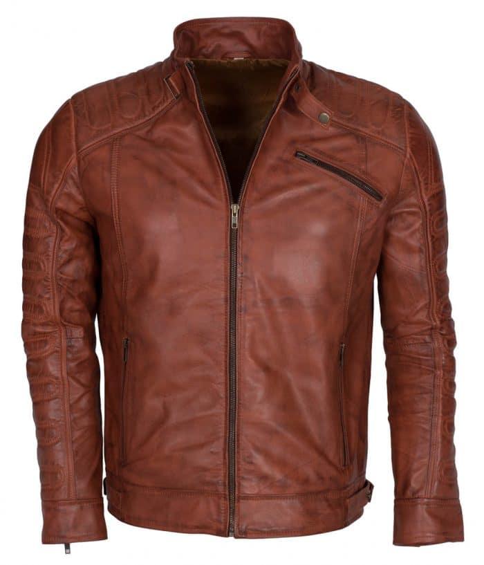 Men Padded Vintage Biker Leather Jacket