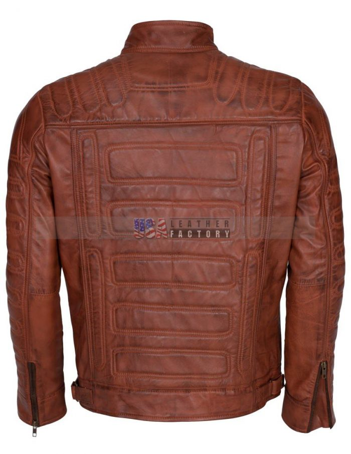 Men Padded Vintage Biker Leather Jacket