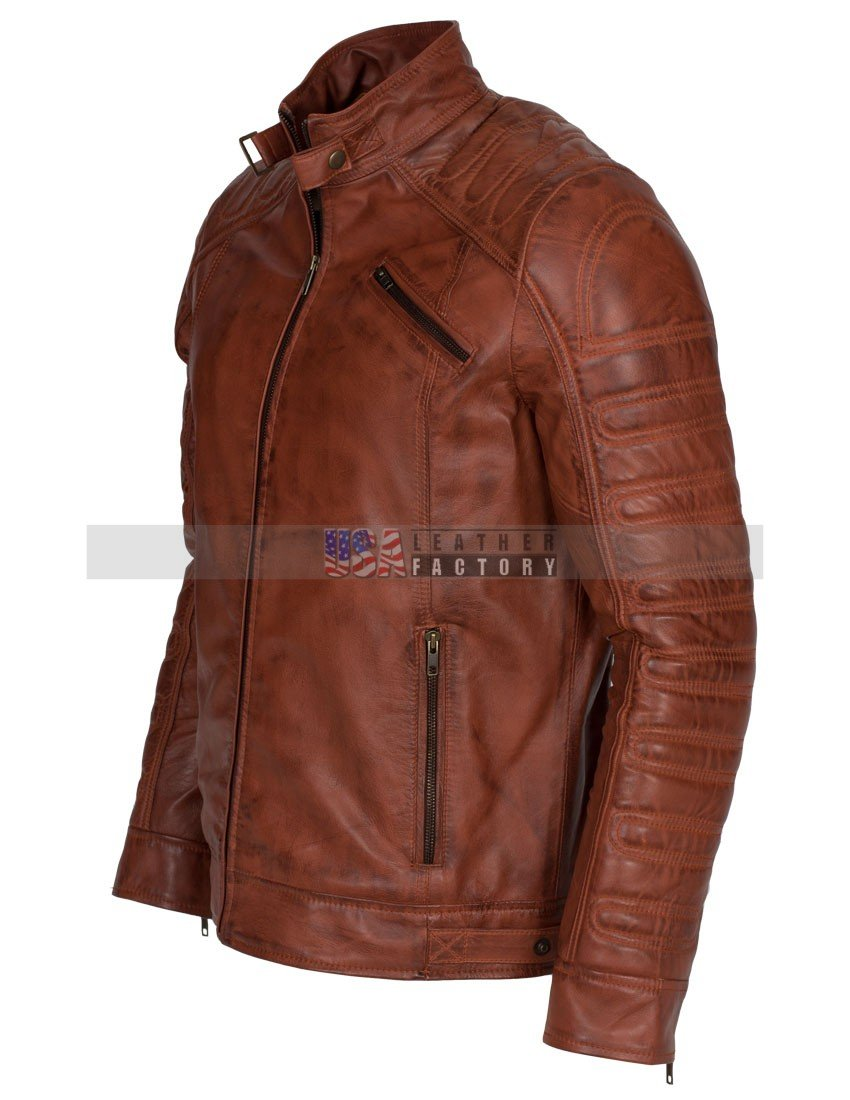 Men Padded Vintage Biker Leather Jacket -