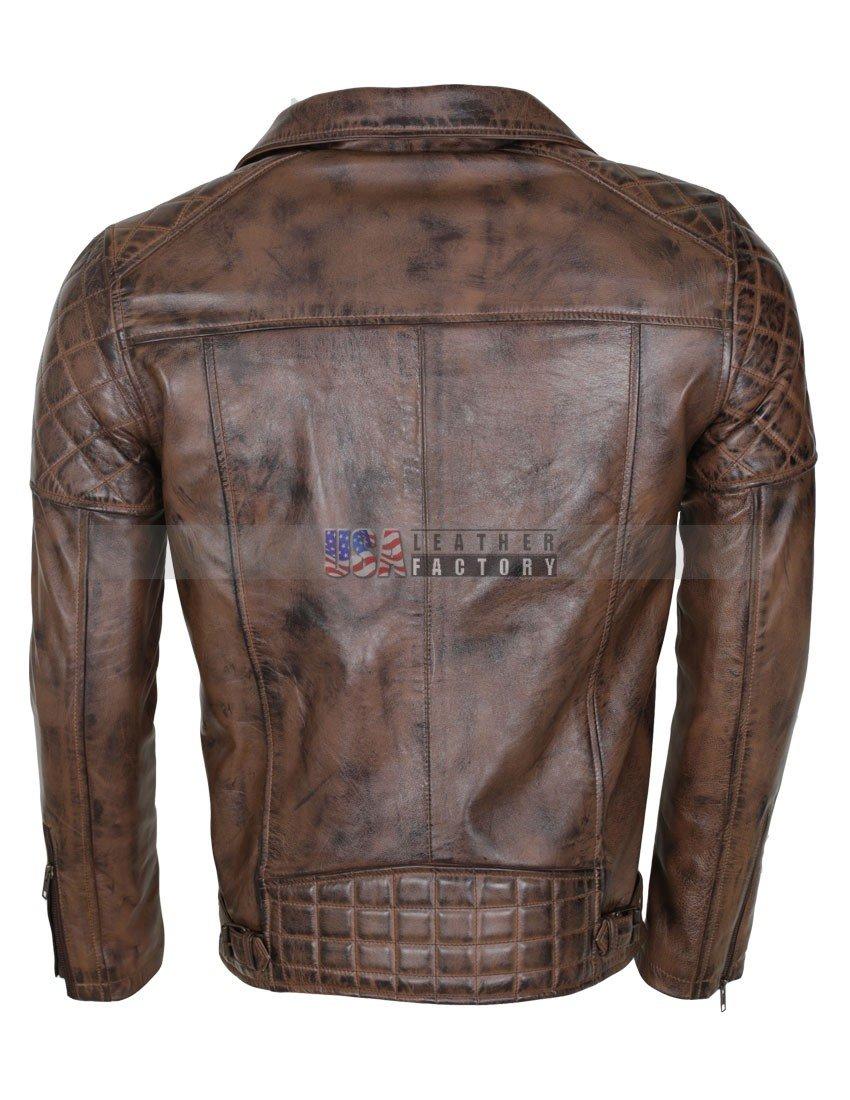 Mens Brown Vintage Designer Brando Genuine Leather Jacket