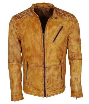 Men's Camel Color Vintage Waxed Designer Leather Jacket