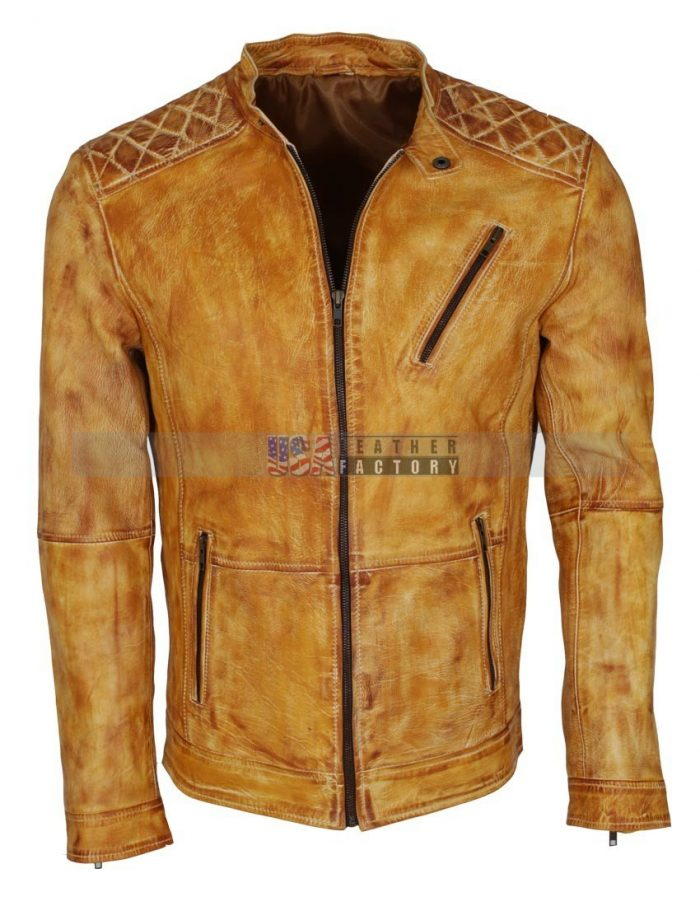 Camel Color Leather Jacket