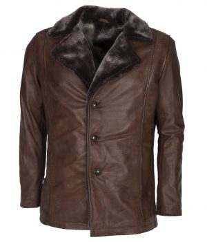 Mens Italian Design Vintage Brown Leather Coat