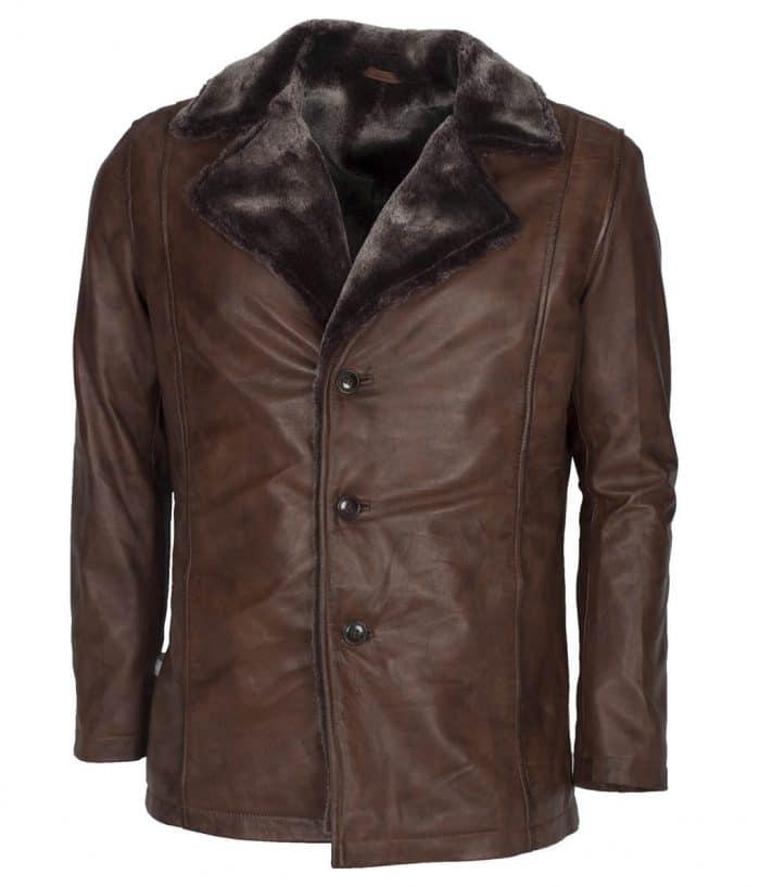 Mens Italian Design Vintage Brown Leather Coat