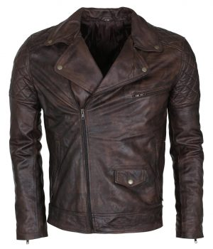Mens Vintage Dark Brown Waxed Italian Style Leather Jacket