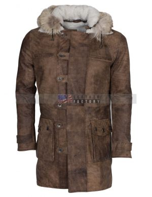 Real Fox Fur Detachable Hood Bane Leather Coat
