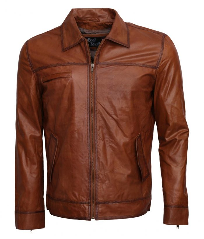 Simple Brown Waxed Men Leather Jacket