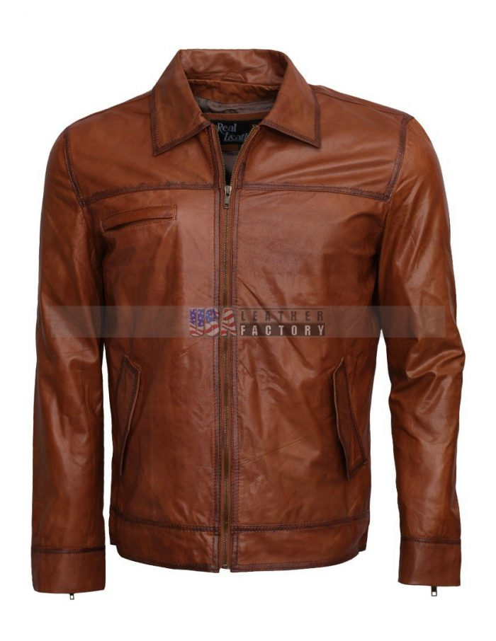 Simple-Brown-Waxed-Men-Leather-Jacket-Sale-Free-Shipping