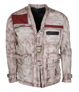 Star Wars White Waxed Finn Leather Jacket