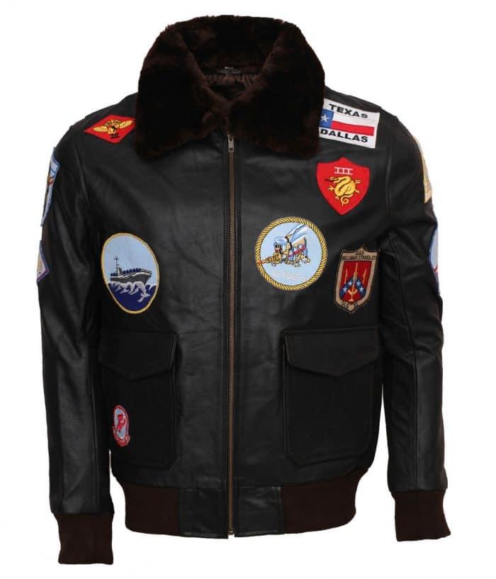 Top Gun's Tom Cruise Black Flight Bomber Leather Jacket