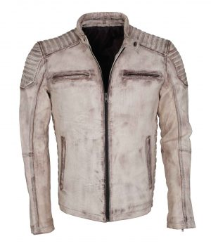Vintage Italian White Grey Waxed Genuine Leather Mens Jacket