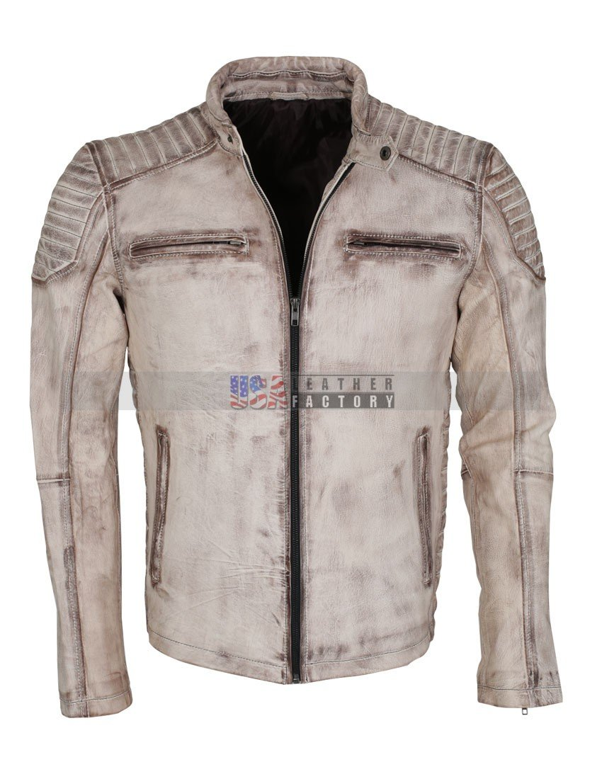 Vintage Italian White Grey Waxed Genuine Leather Mens Jacket
