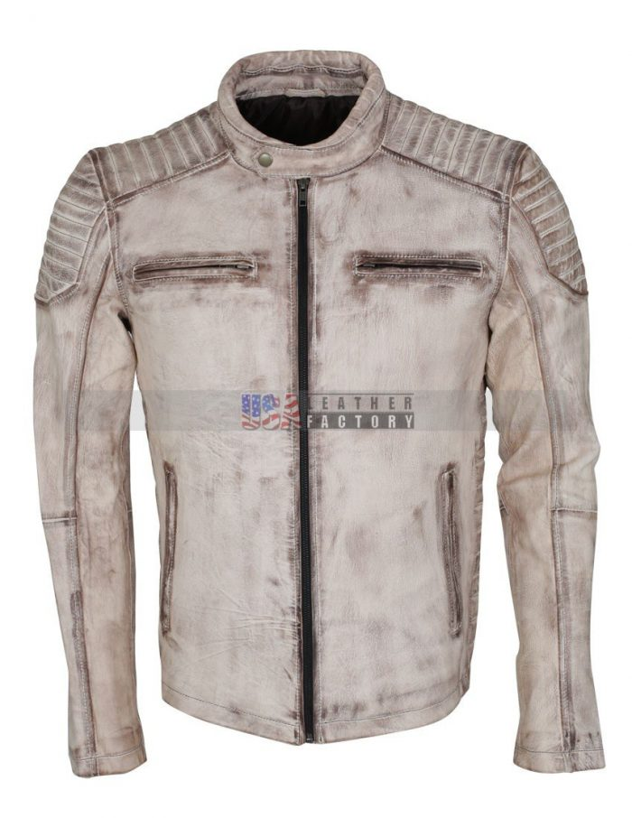 Vintage White Leather Jacket