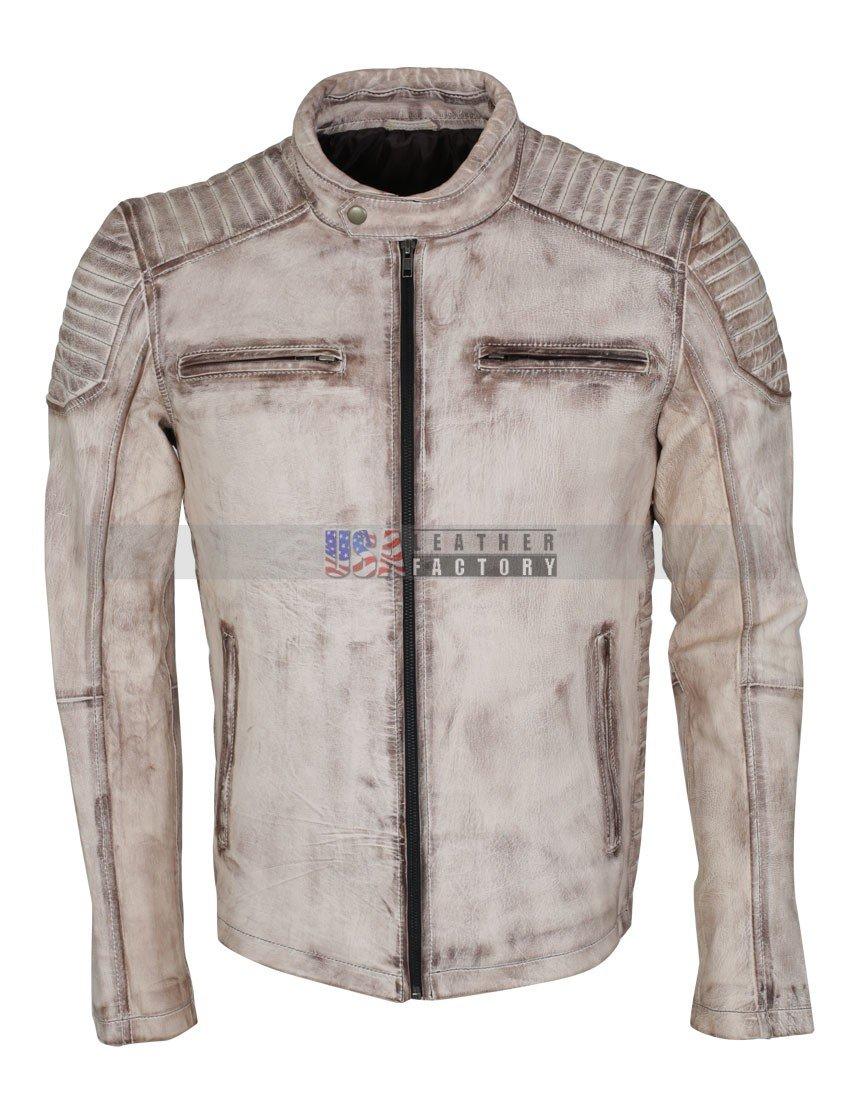 Mens Biker Fashion Designer Genuine Leather Casual wear Jacket in Antique