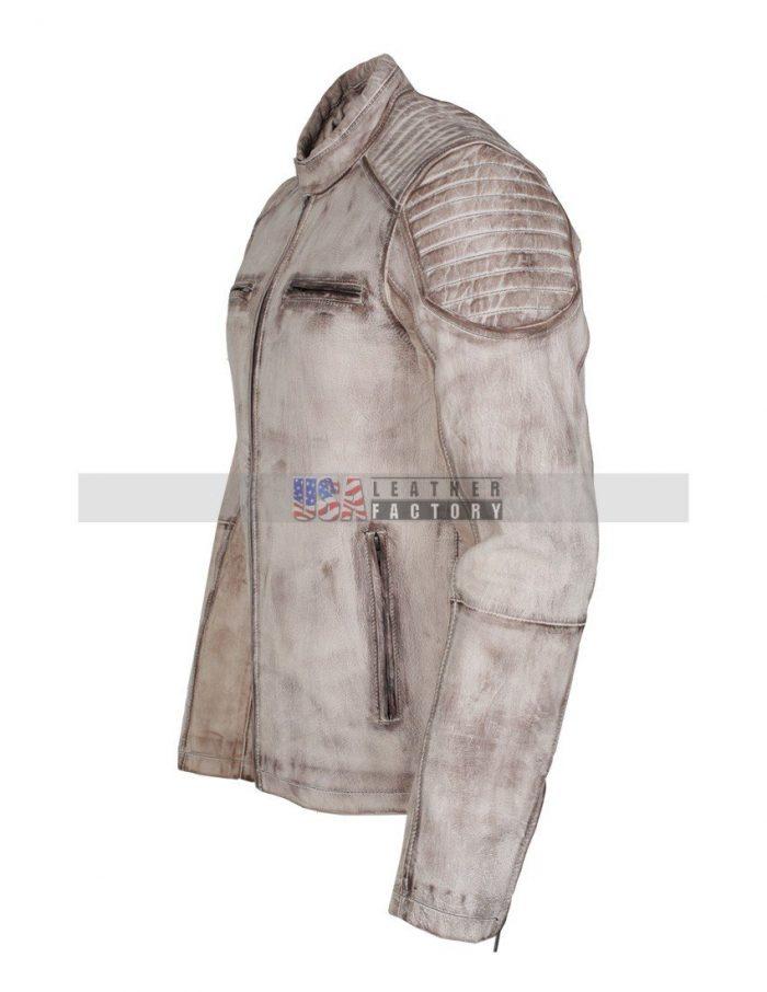 Vintage White Leather Jacket