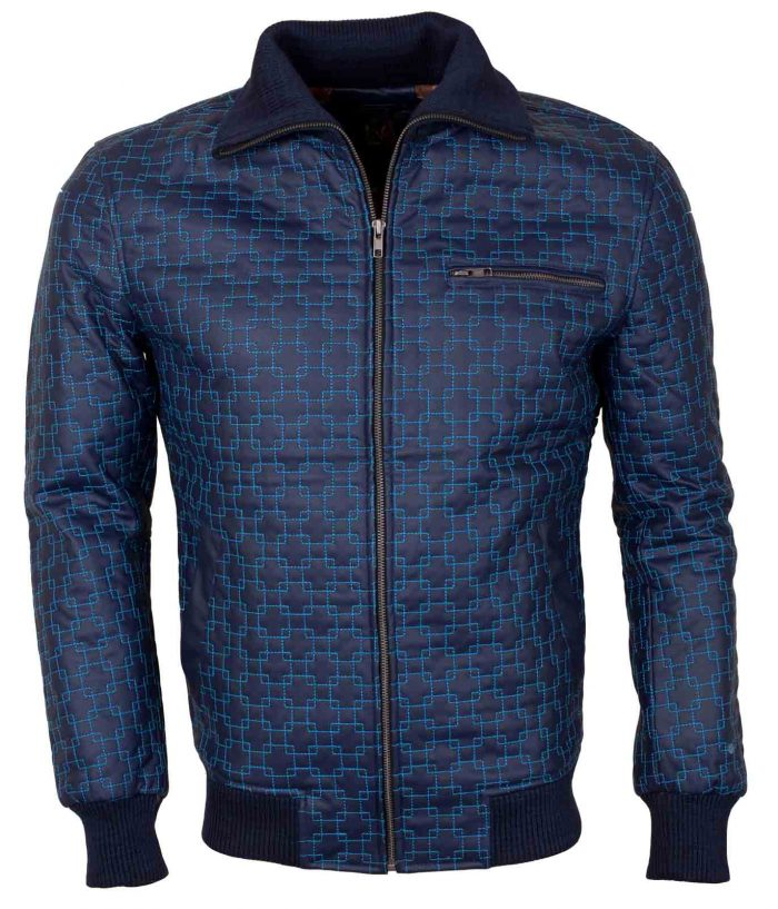 Casual Blue Embroidered Stylish Leather Jacket