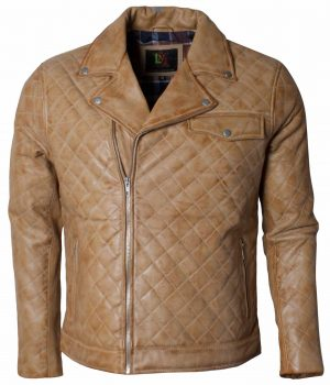Embroidered Men Soft Leather Biker Jacket Sale