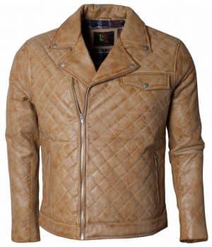 Embroidered Men Soft Leather Biker Jacket Sale