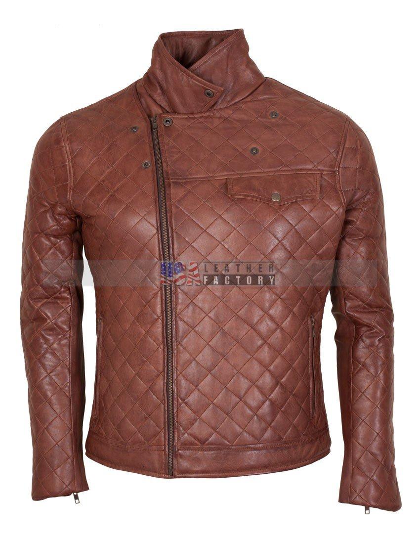 Mens Brown Biker Soft Casual Leather Jacket