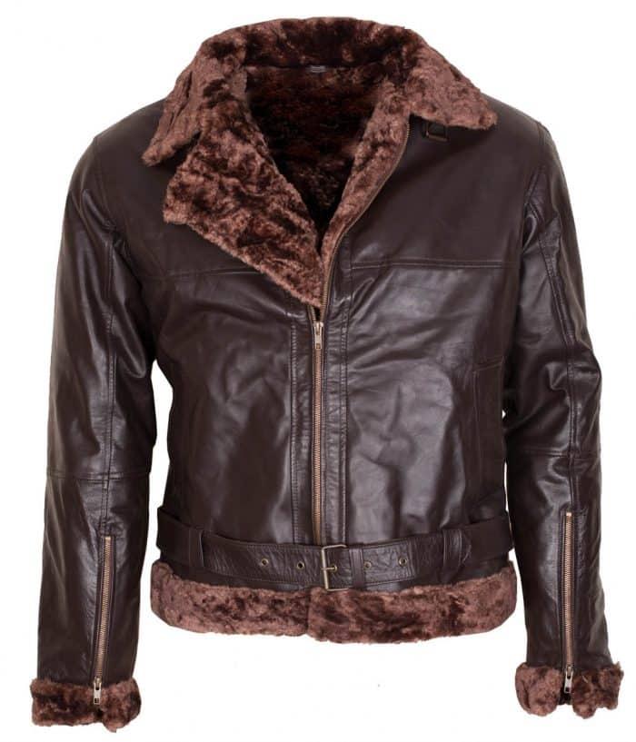 B3 Bomber Aviator Men's Brown Fur Leather Jacket