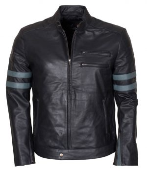 Designer Men Retro Black Biker Leather Jacket