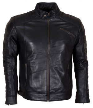 Designer Men's Padded Black Motorcycle Leather Jacket
