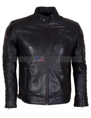Padded Motorcycle Leather Jacket