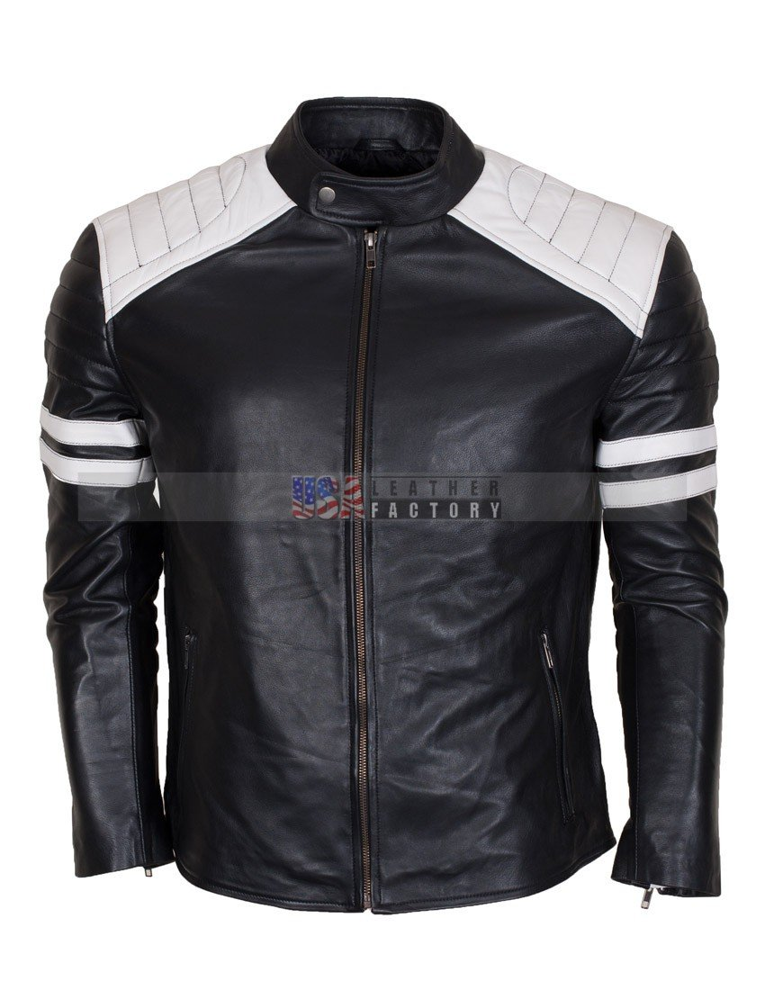 Fight Club Hybrid Black Leather Biker Jacket USA Leather Factory