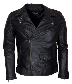 Men Brando Styled Black Biker Leather Jacket