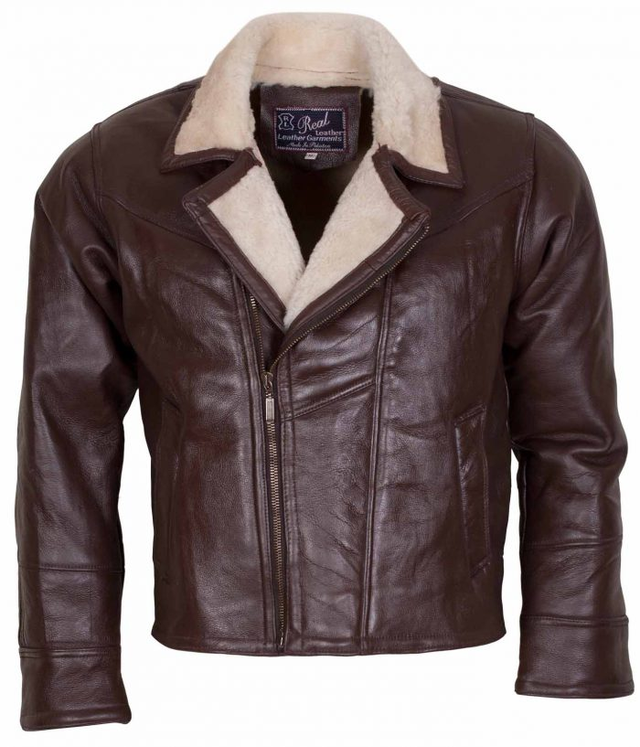 Men Choco Brown B3 Bomber Fur Lined Leather Jacket