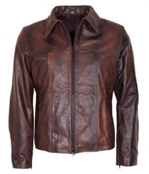 Men's Antique Brown Vintage Racer Leather Jacket