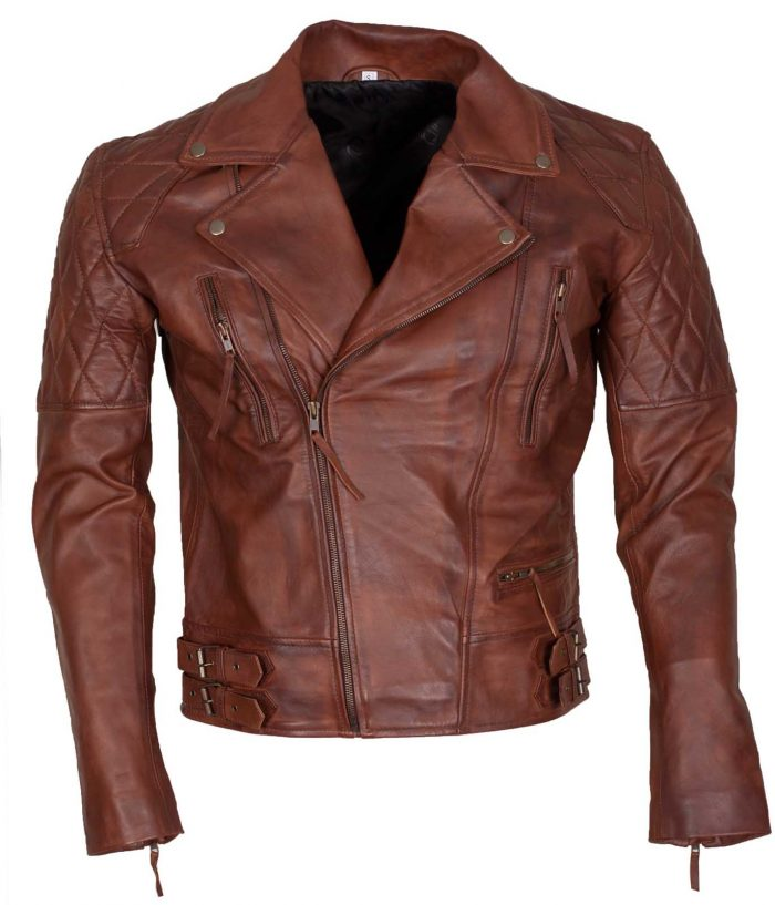 Mens Classic Diamond Brown Motorcycle Leather Jacket