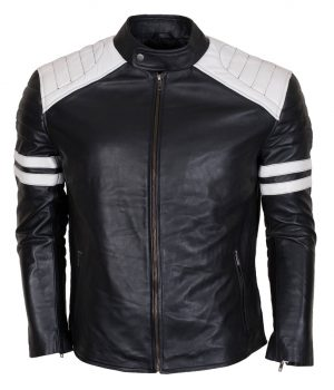 Men's Fight Hybrid Black Leather Biker Jacket