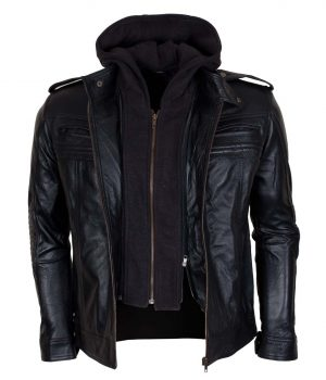 TNA AJ Style Hooded Leather Jacket