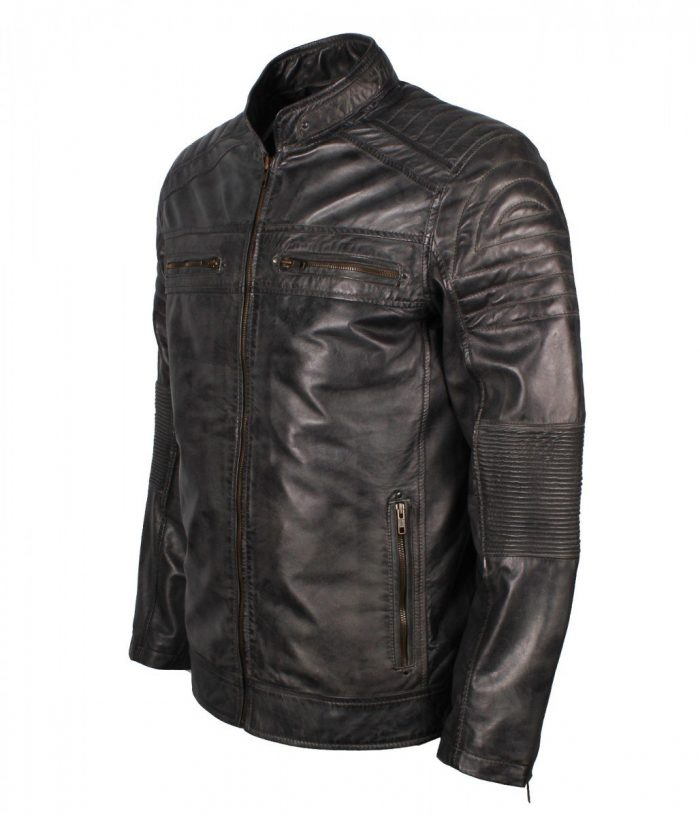 Grey Cafe Racer Leather Jacket