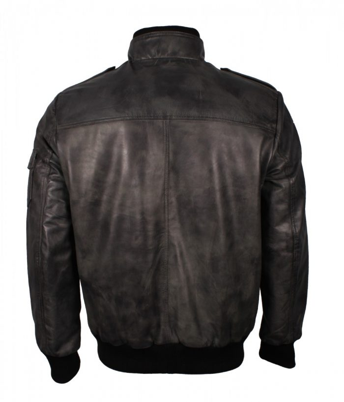 Grey Waxed Leather Jacket