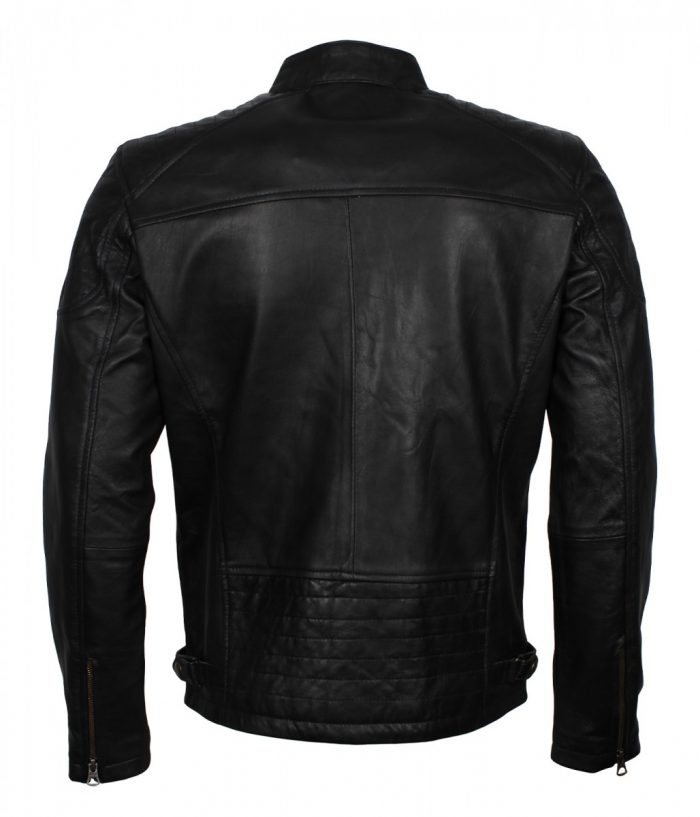 Black Leather Quilted Jacket