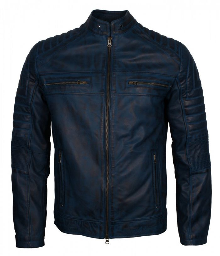 blue cafe racer jacket